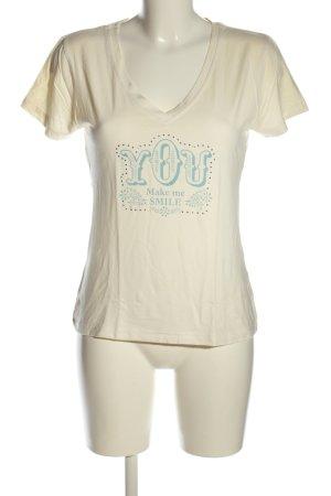 IDPDT T-Shirt wollweiß-blau Motivdruck Casual-Look