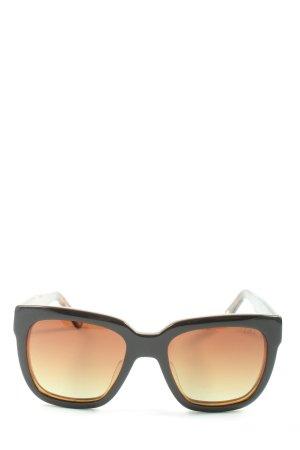 Ikkii Occhiale da sole spigoloso nero-marrone stile casual