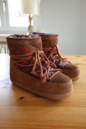 Ikkii Botas de nieve marrón-coñac Cuero