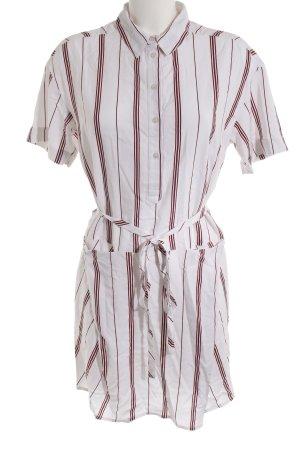 Ikks Blusenkleid weiß-karminrot Streifenmuster Casual-Look