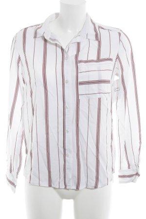 Ikks Hemd-Bluse weiß-dunkelrot Streifenmuster Business-Look