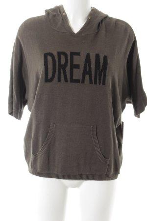 Ikks Shirt met capuchon grijs-bruin geborduurde letters casual uitstraling