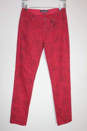 Ikks Slim Jeans dunkelrot-dunkelgrau Leomuster Casual-Look, Gr 40