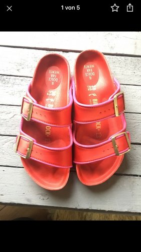 Birkenstock Comfort Sandals brick red-violet leather