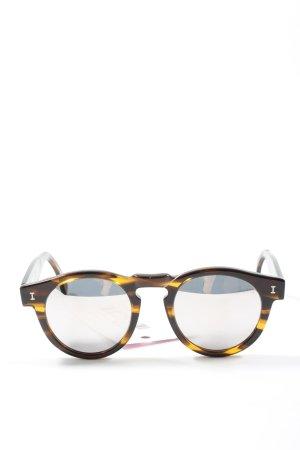 Illesteva Lunettes de soleil rondes brun-jaune primevère motif abstrait