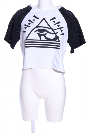Illustrated People T-shirt bianco-nero Stampa a tema stile casual
