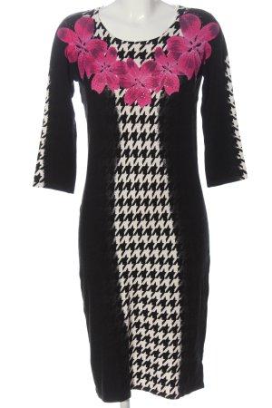 Imagini Knitted Dress black-white flower pattern elegant