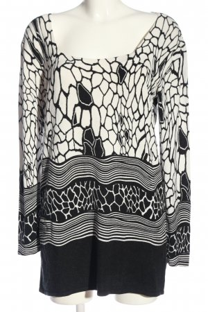 Imagini Strickpullover weiß-schwarz abstraktes Muster Casual-Look