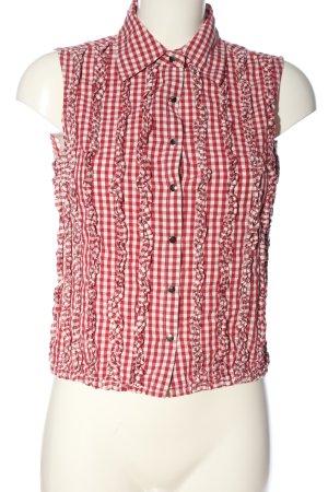 imitz ärmellose Bluse rot-weiß Karomuster Casual-Look