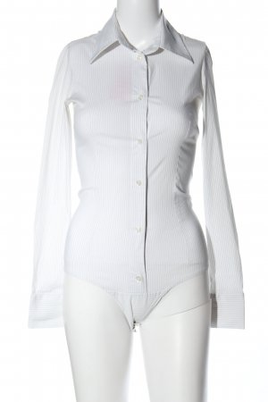 Imperial Bodysuit Blouse white striped pattern business style