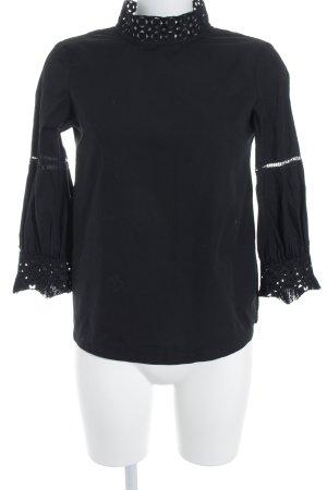 Imperial Langarm-Bluse schwarz Spitzenbesatz