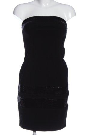 Imperial schulterfreies Kleid schwarz Glanz-Optik