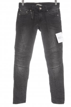 Imperial Skinny Jeans schwarz-wollweiß Logo-Applikation aus Leder