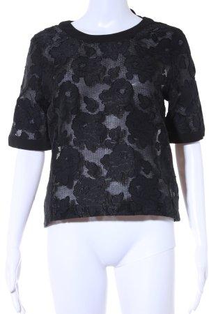 Imperial T-Shirt schwarz Blumenmuster Elegant