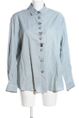Imperial Folkloristische hemd groen-wit gestreept patroon casual uitstraling