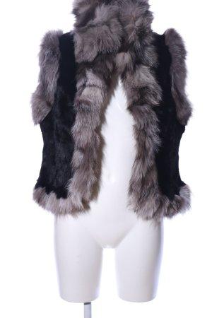 In Linea Gilet en fourrure noir-gris clair style décontracté