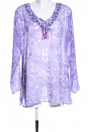 In Linea Transparenz-Bluse lila abstraktes Muster Casual-Look