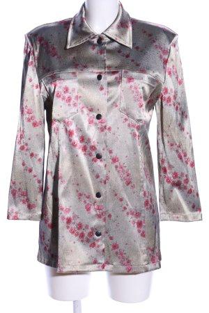 In-Print Blusenjacke hellgrau-pink Blumenmuster Business-Look