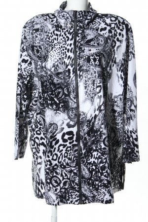 In-Print Lange Jacke schwarz-weiß abstraktes Muster Casual-Look