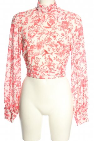 In the Style Wikkelblouse wit-roze volledige print casual uitstraling