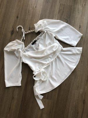 In Vogue Paris Bluse Wickeloptik off-white Gr. M 36/38 mit Puffärmeln