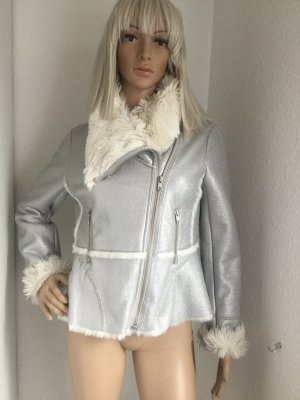 INC International Concepts Flight Jacket silver-colored-white fake fur