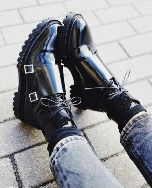 Inch2 Lace-Up Monk Boots with Buckles