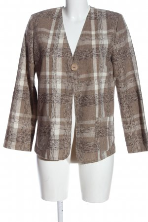inco Knitted Blazer brown-white check pattern business style