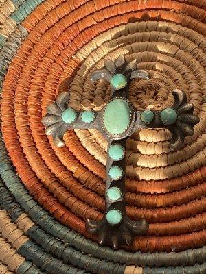 Indianer  Anhänger Kreuz Türkis Silber antik