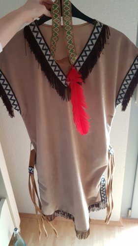 Fringed Dress bronze-colored mixture fibre