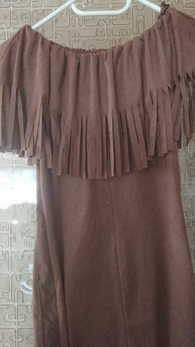 Fringed Dress brown polyester