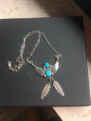 Indianerschmuck Sterling Silber in Form eines Flügels mit Türkis