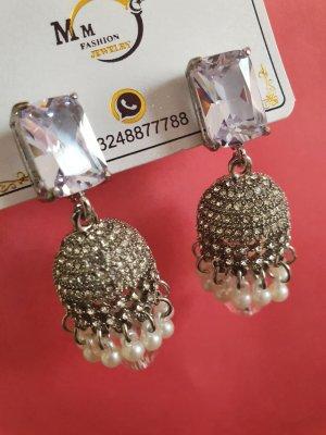 Boucles d'oreilles en perles argenté