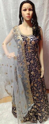 Bollywood Avondjurk donkerrood-donkerblauw