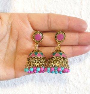 Pendientes tipo aro rosa-turquesa