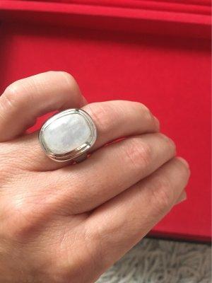 Indischer Mondstein Cabochon, cushion ca. 16x12mm Ring, poliert Silber 925,rhod iniert