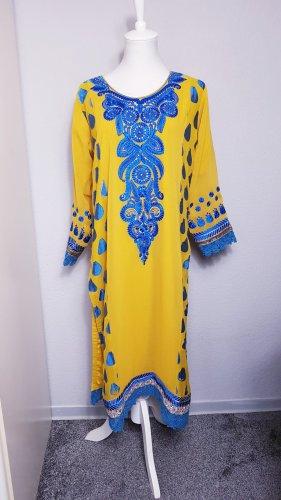 Indisches Kleid, Sommerkleid gelb, besticktes kleid, Kaftan  Hippie
