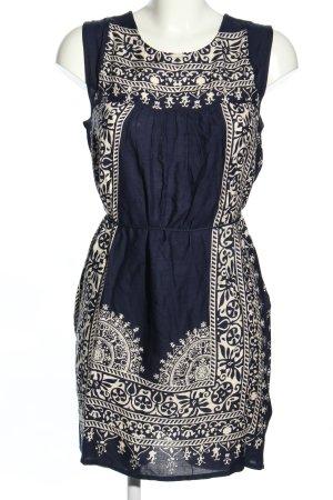 Indiska Minikleid blau-wollweiß abstraktes Muster Casual-Look