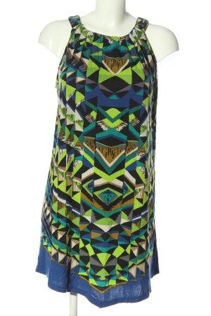 Indiska Mini vestido verde-azul estampado repetido sobre toda la superficie