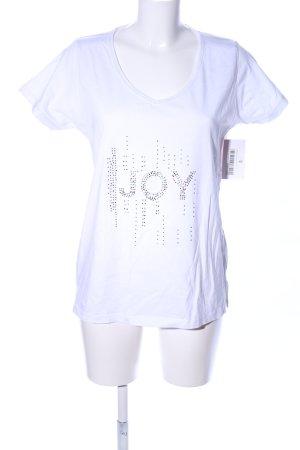 Infinity woman V-Ausschnitt-Shirt weiß Schriftzug gedruckt Casual-Look