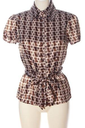 Influence Short Sleeve Shirt brown-natural white allover print elegant