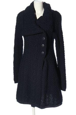 Inis Crafts Cappotto a maglia blu punto treccia stile casual