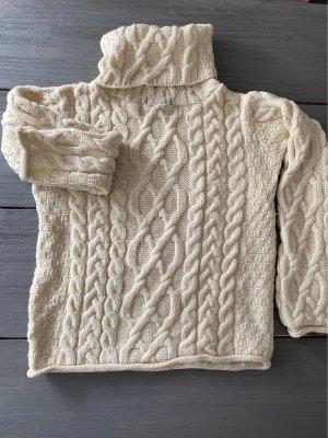 Inis Crafts Jersey trenzado blanco puro Lana