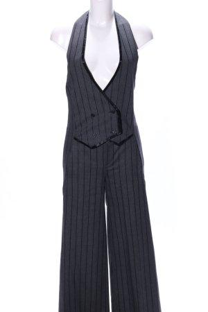 Initial Jumpsuit hellgrau-schwarz Streifenmuster extravaganter Stil