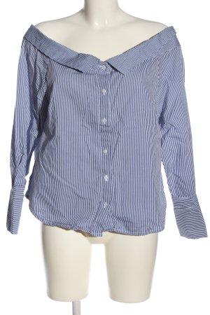 Innocence Camicia blusa blu-bianco motivo a righe stile casual