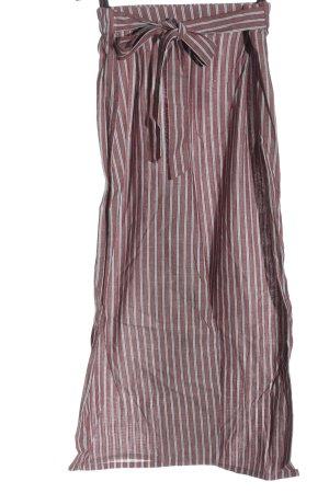 Innocence Pantalone di lino rosso-bianco motivo a righe stile casual