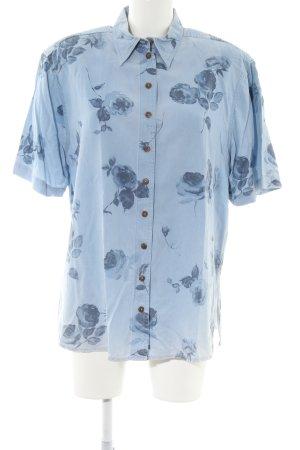 Spijkershirt blauw bloemenprint casual uitstraling