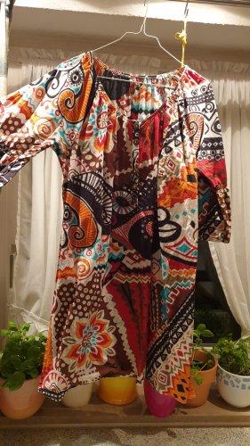 INTERESSANT Longbluse Gr. 48 BEQUEM rot orange türkis schwarz MUSTERMIX Knopfleiste SO BIN ICH 100% Baumwolle QUALITÄT