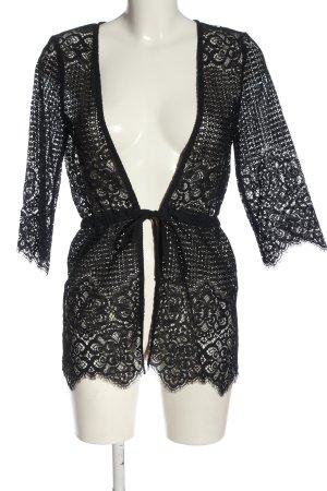 Intimissimi Chaqueta tipo blusa negro Patrón de tejido look casual