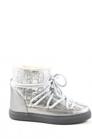 "Inuikii Botas de nieve ""Knit Leather Boots"" color plata"